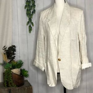 Danielle B Oversized Linen Jacket w/ Gold Button M